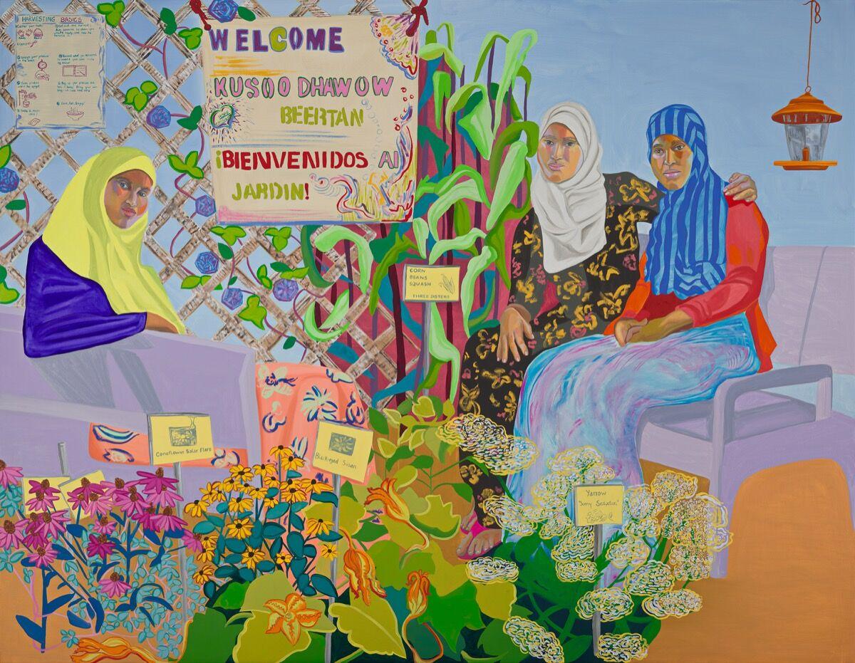 Aliza Nisenbaum, Nimo, Sumiya and Bisharo Harvesting Flowers and Vegetables at Hope Community Garden, 2017. Photo by Minneapolis Institute of Art, Minneapolis. Courtesy of the Minneapolis Institute of Art.