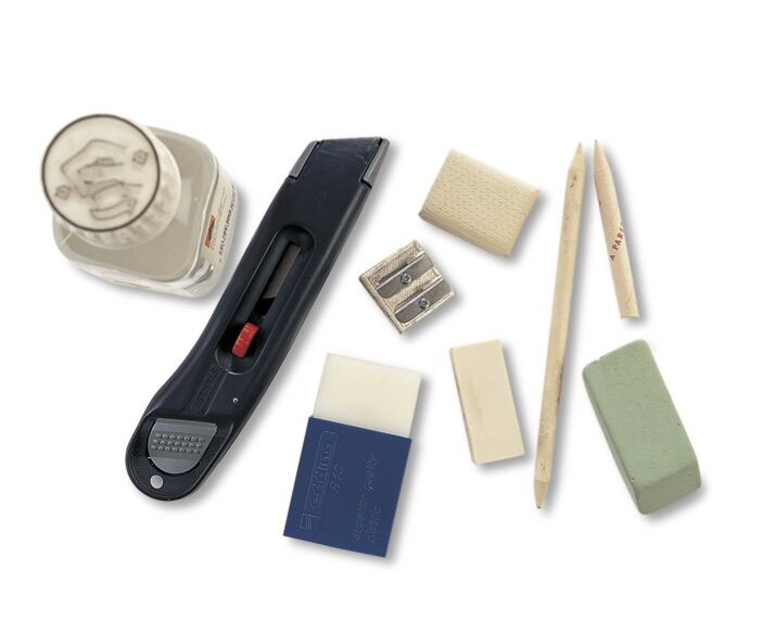 Craft knife, erasers, stumps, and sharpeners. © 2019 IMM Lifestyle Books. Courtesy of Fox Chapel Publishers.