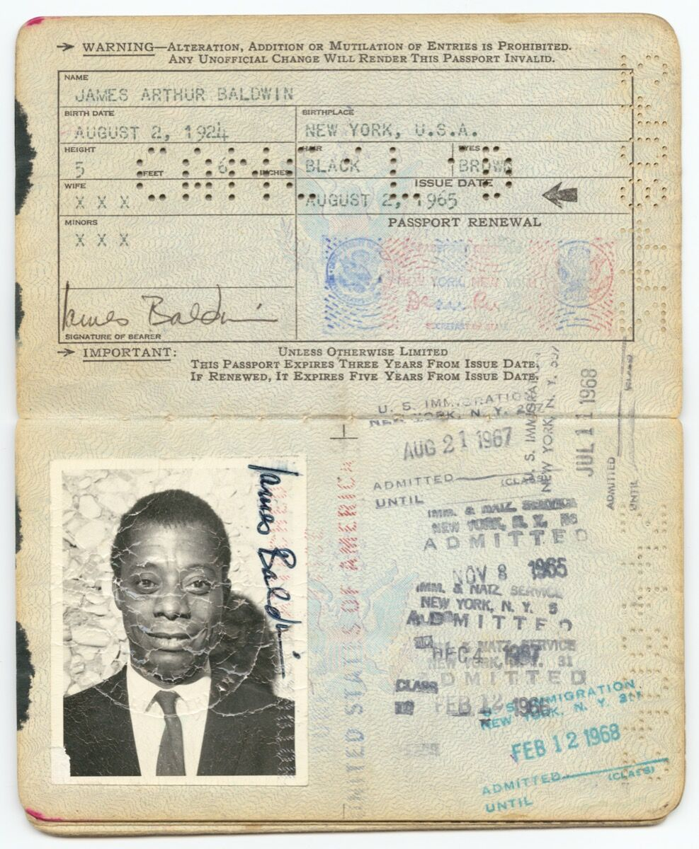 United States passport belonging to James Baldwin, 1965. Courtesy of the Smithsonian National Museum of African American History and Culture.
