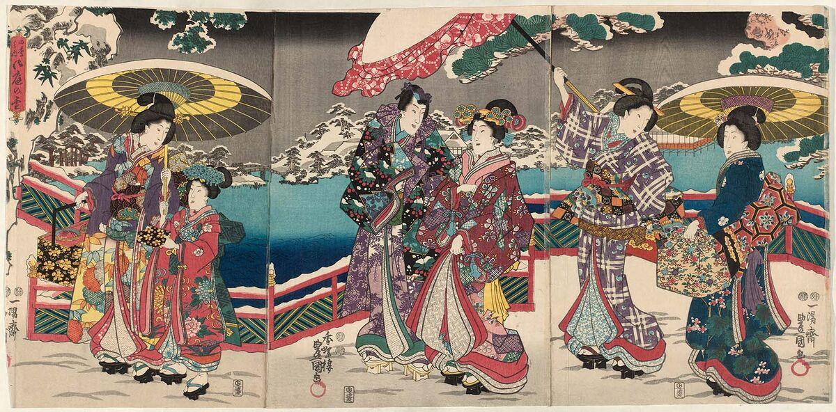 "Utagawa Kunisada I (Toyokuni III), Snow in the Palace Garden, from the series ""The Four Seasons,"" 1847-52. Courtesy of the Museum of Fine Arts, Boston."