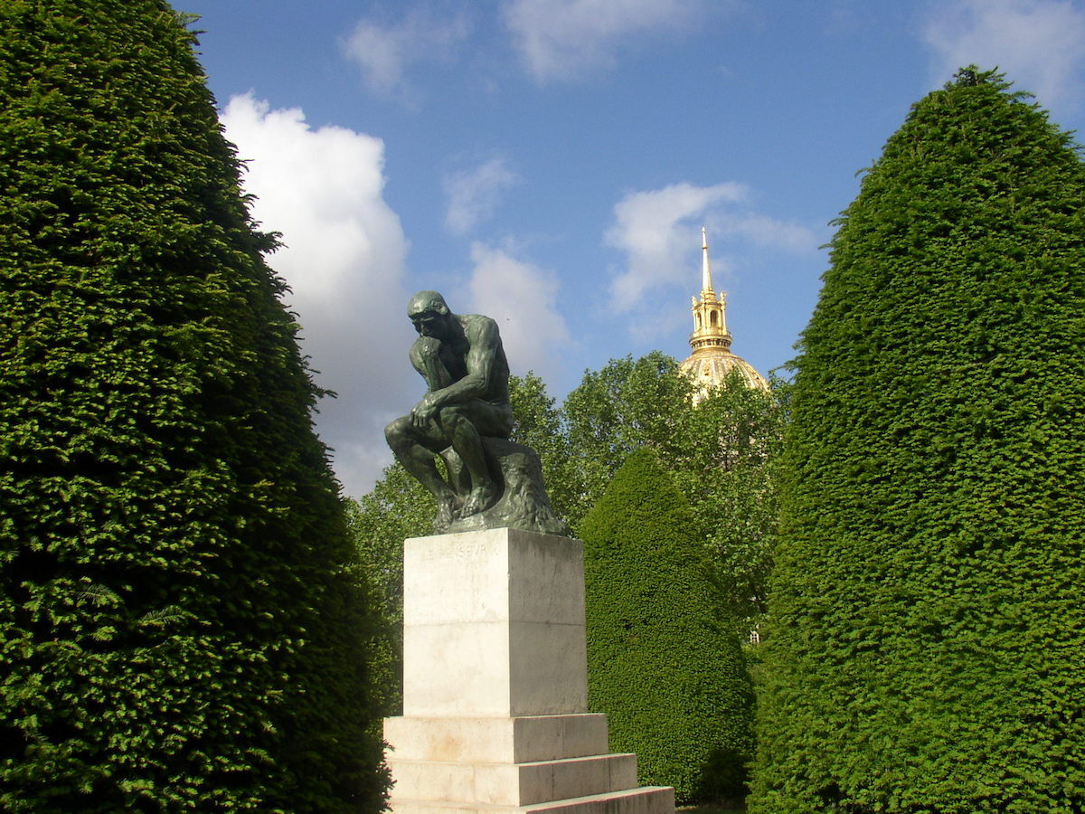 The Thinker by Auguste Rodin at the Musée Rodin in Paris. Photo by Jcesare, via Wikimedia Commons.