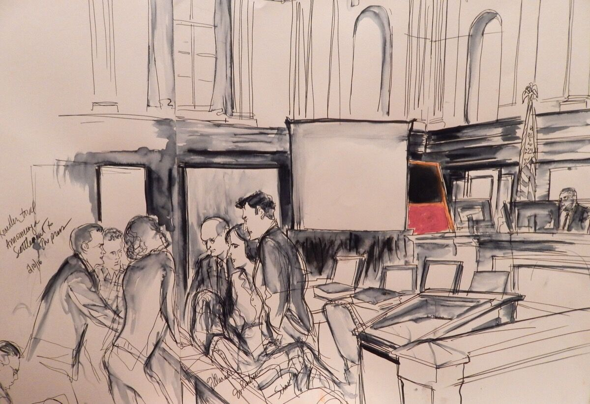 Courtroom illustration from a previous 2016 settlement regarding fakes sold by Knoedler Gallery. Illustration by Elizabeth Williams. Courtesy of Elizabeth Williams Studio.