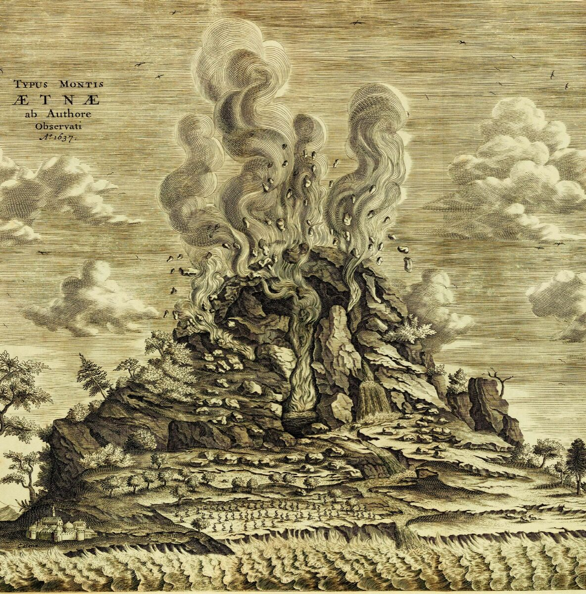 Mount Etna, 1637, from Athanasius Kircher's Mundus Subterraneus, 1665. Courtesy Bodleian Libraries, University of Oxford.