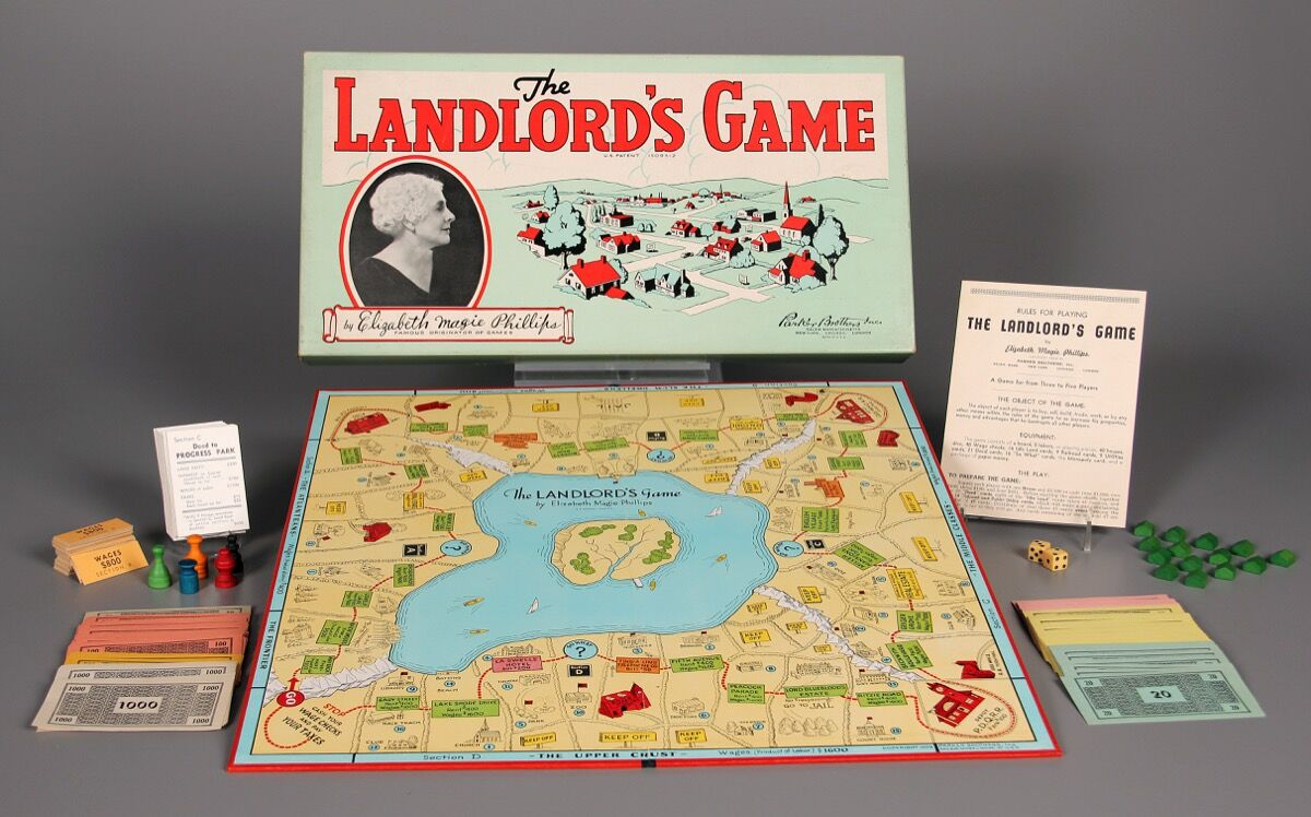 Elizabeth Magie Phillips, The Landlord's Game, 1904. Manufactured by the Parker Brothers. © The Strong. Courtesy of The Strong, Rochester, New York.