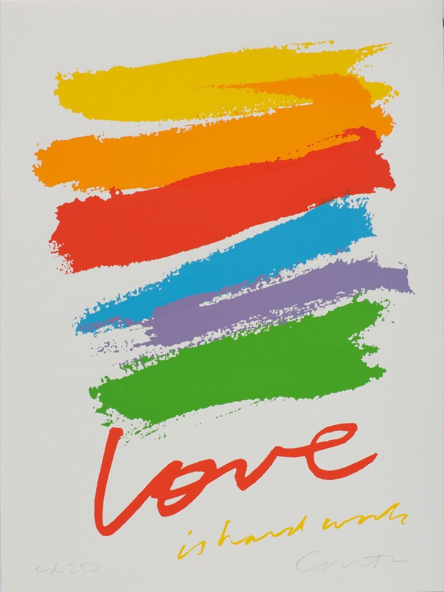 Corita Kent, love is hard work, 1985. Corita Art Center, photo by Arthur Evans.