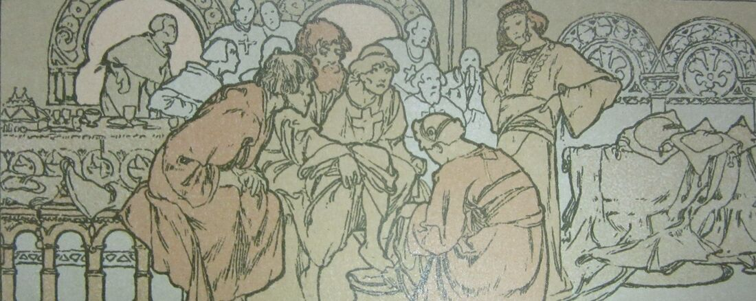 Ilsee and her servants receiving the pilgrims