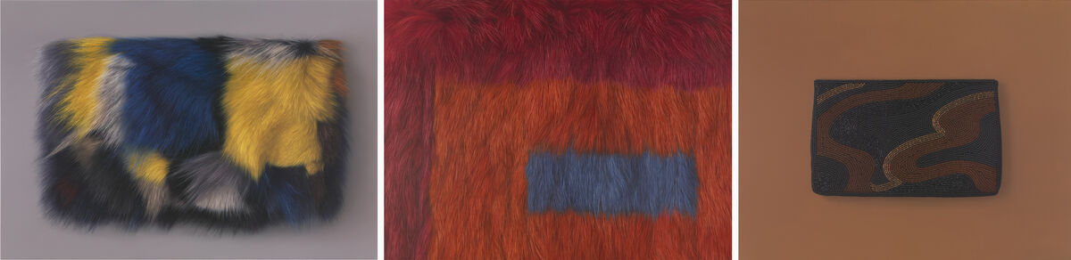 Victoria Gitman, Untitled, 2015; Victoria Gitman, Detail of Untitled, 2015; Victoria Gitman, On Display, 2010. Courtesy Garth Greenan Gallery.