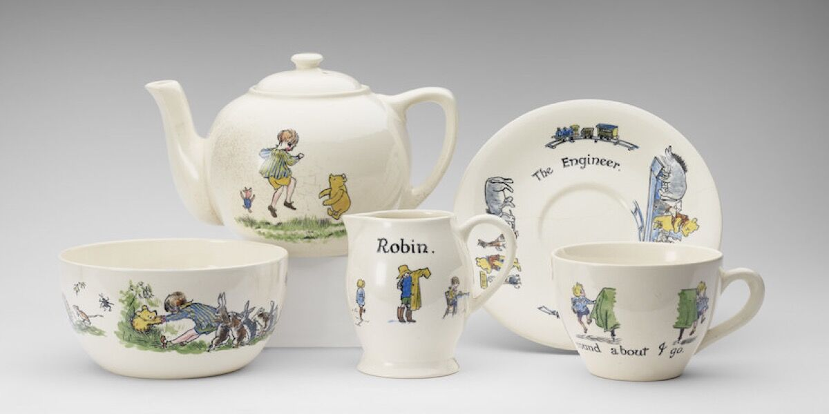 Christopher Robin ceramic tea-set presented to Princess Elizabeth, hand-painted, Ashtead Pottery, 1928. Photo by the Royal Collection Trust. © Her Majesty Queen Elizabeth II 2017.
