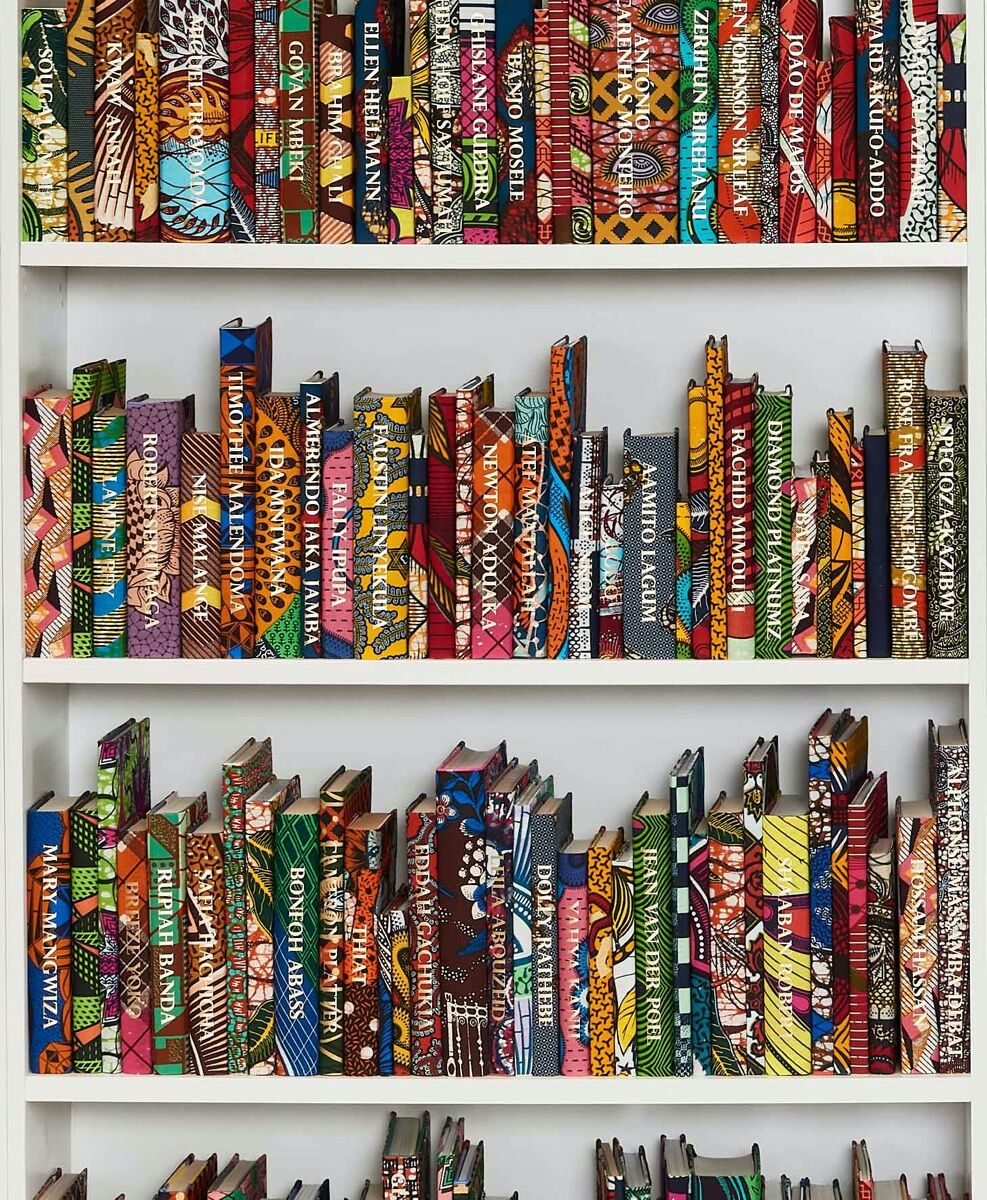 Yinka Shonibare CBE, detail of The African Library Collection: Writers, 2020. Photo by Anthea Pokroy. Courtesy of the artist and Goodman Gallery.