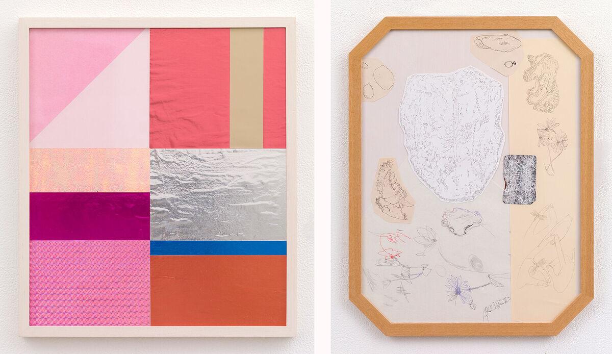 Ryoko Aoki.Left, Pink and Orange,2009. Right,Object Reading 3,2015. CourtesyTake Ninagawa.