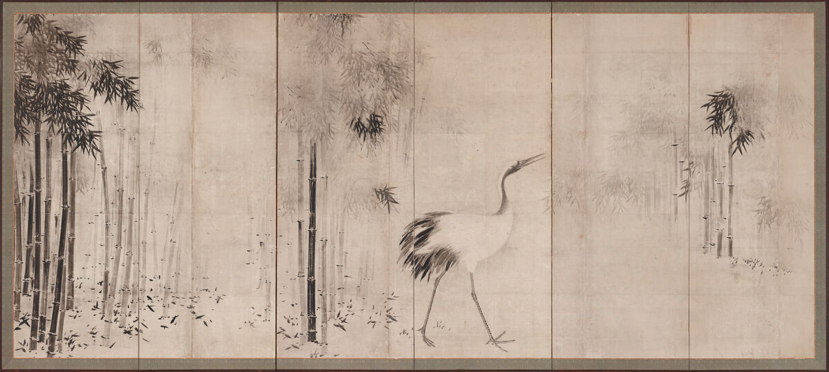 Hasegawa Tōhaku, Cranes in Bamboo Grove, 16th century (Momoyama period).