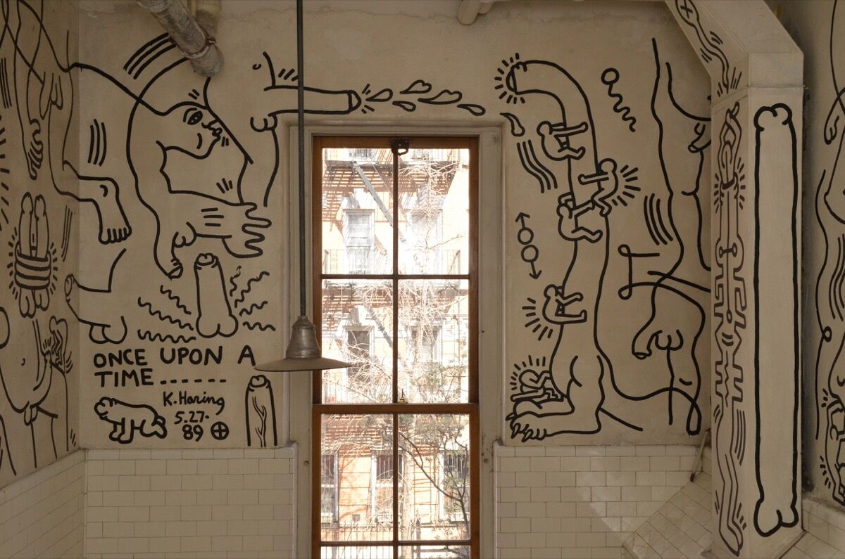 Installation view of Keith Haring, Once Upon a Time, 1989, at the LGBT Community Center, Manhattan. Courtesy of the LGBT Community Center National History Archive.