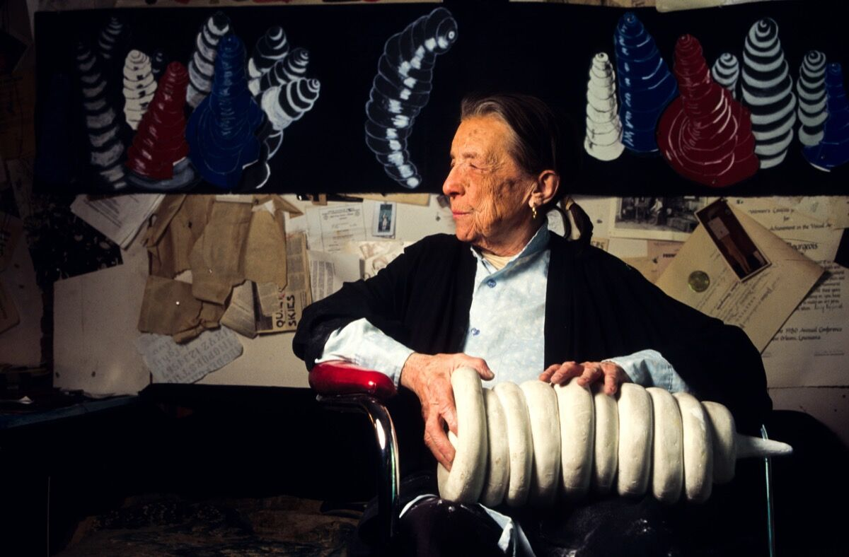 Louise Bourgeois in her studio, 1995. Photo by Porter Gifford/Corbis/Getty Images.