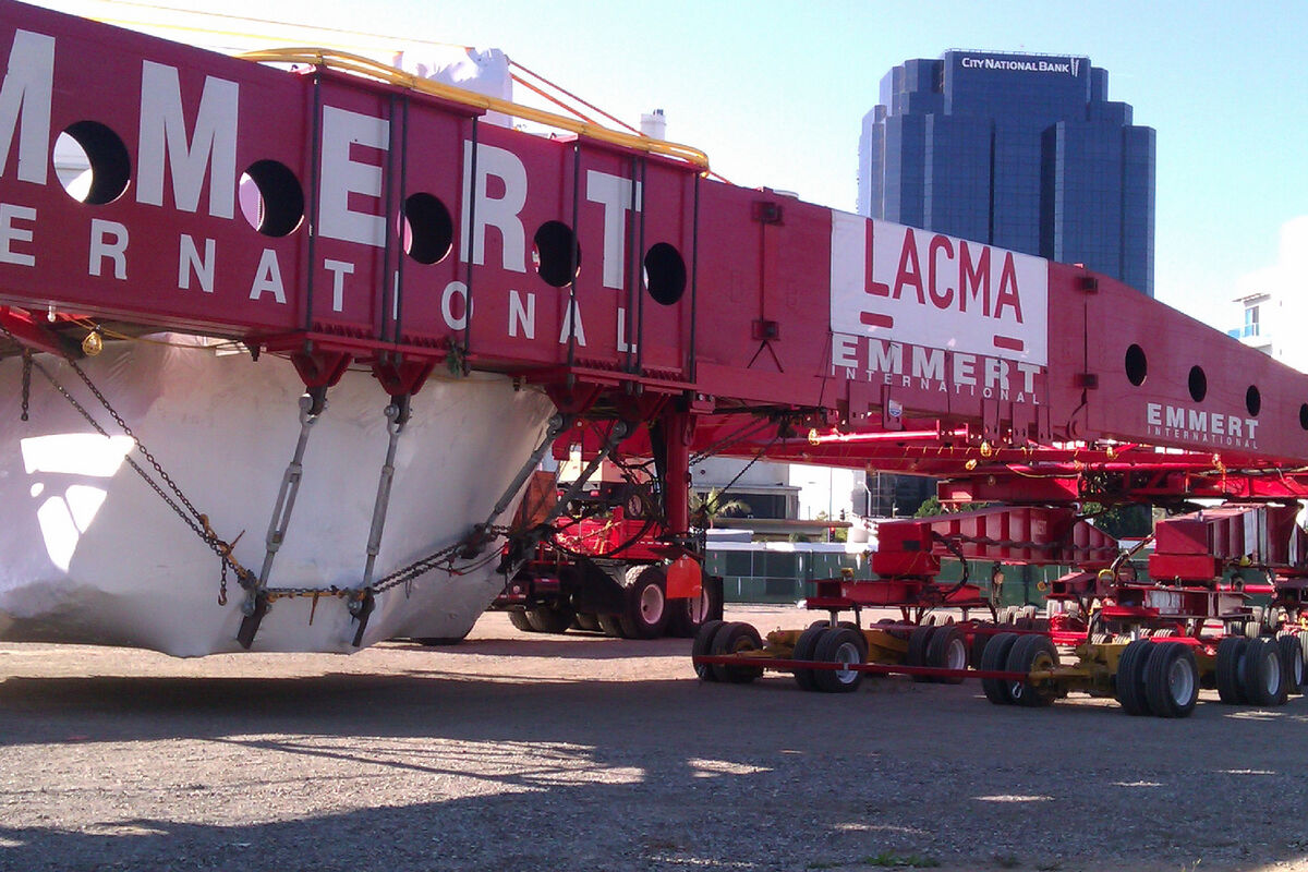 Transporting Michael Heizer's Levitated Mass,  2012. Photo by bunnicula, via Flickr.