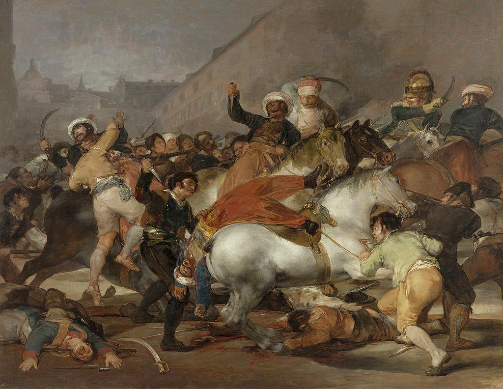 Francisco Goya, el 2 de mayo de 1808, 1814. Imagen a través de Wikimedia Commons.
