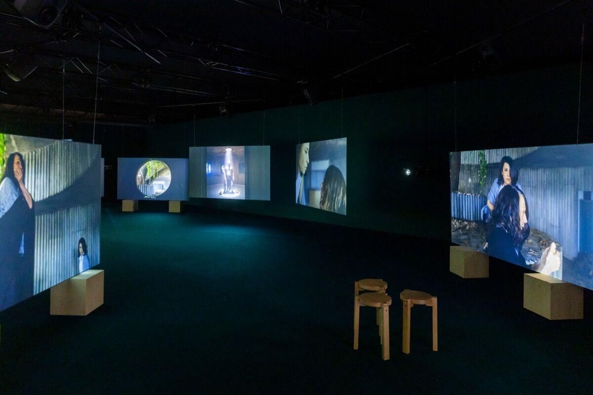 Installation view of Isaac Julien, Lina Bo Bardi: A Marvelous Entanglement, 2019. Courtesy of Art Basel.
