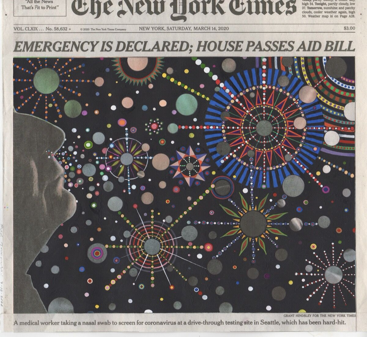 Fred Tomaselli, March 14, 2020, 2020. Courtesy of the artist and James Cohan Gallery.