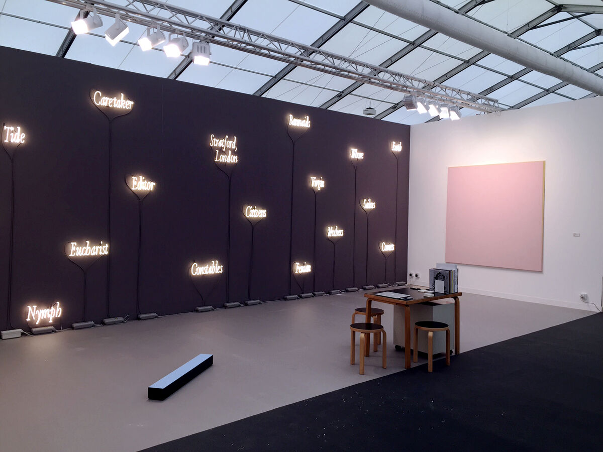 Project by Joseph Kosuth and Ettore Spalletti at Lia Rumma's booth, Frieze London, 2015. Photo courtesy of Lia Rumma.