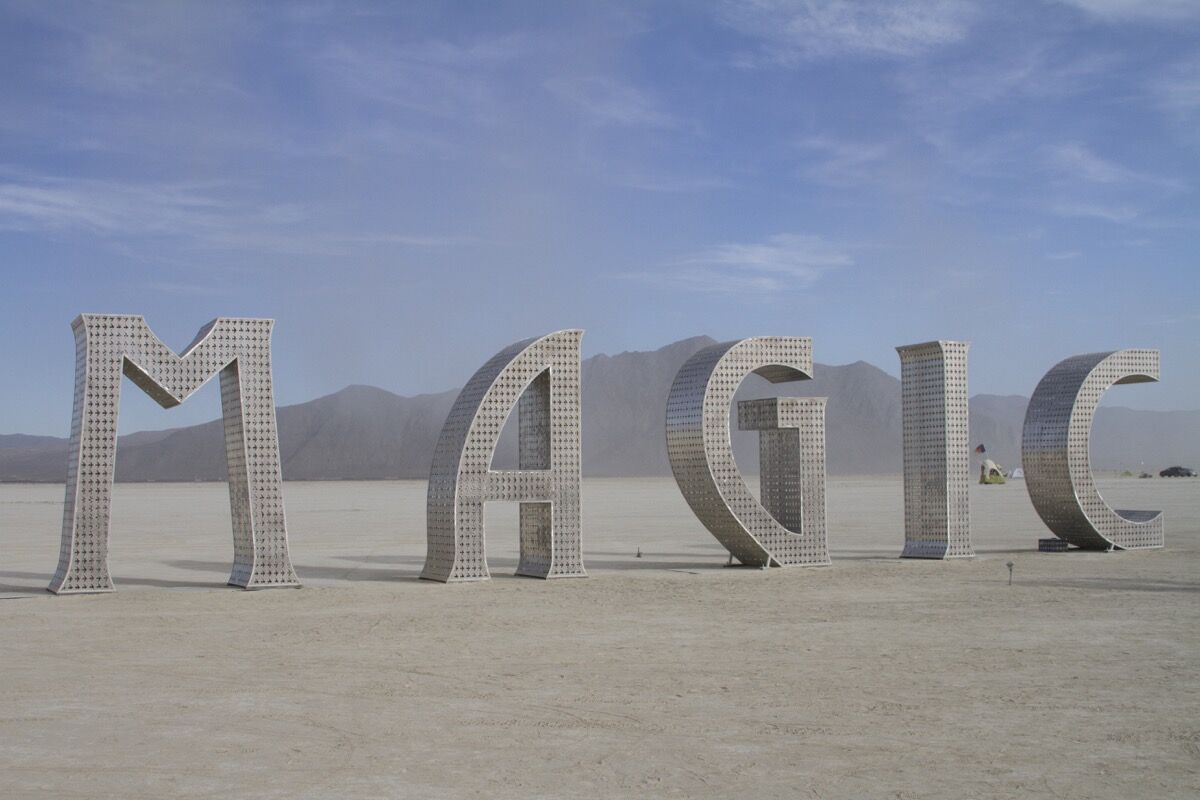 Created by Laura Kimpton and Jeff Schomberg, the industrial steel sculpture Magic (2016)—along with @EARTH#HOME, the duo's other sculpture appearing at Burning Man—was originally commissioned for the Magic City development project in Miami.