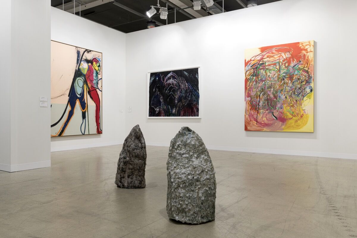 Installation view of Regen Projects' booth at Art Basel, Basel, 2021. Photo by Photo Service at Art Basel. Courtesy of Regen Projects.