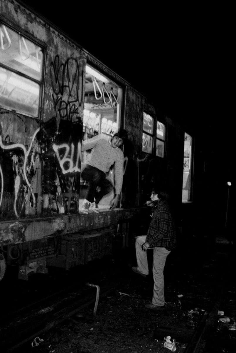 Henry Chalfant, Mare and Pade in the New Lots Train Yard , East New York, NY. 1981. © 2018 Henry Chalfant / Artists Rights Society (ARS), New York. Courtesy Eric Firestone Gallery, New York.