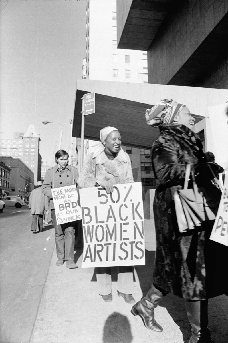 Jan van Raay, Faith Ringgold (right) and Michele Wallace (middle) at Art Workers Coalition Protest, Whitney Museum, 1971. Courtesy of Jan van Raay. © Jan van Raay.