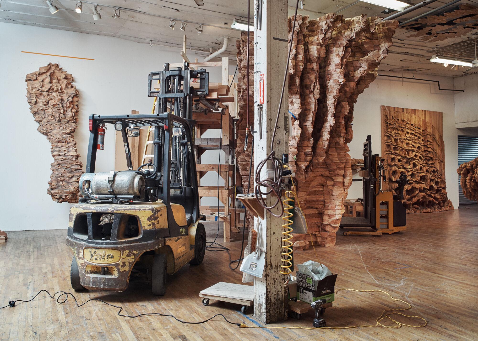 View of Ursula von Rydingsvard's studio in Bushwick, Brooklyn. Photo by Alex John Beck for Artsy.