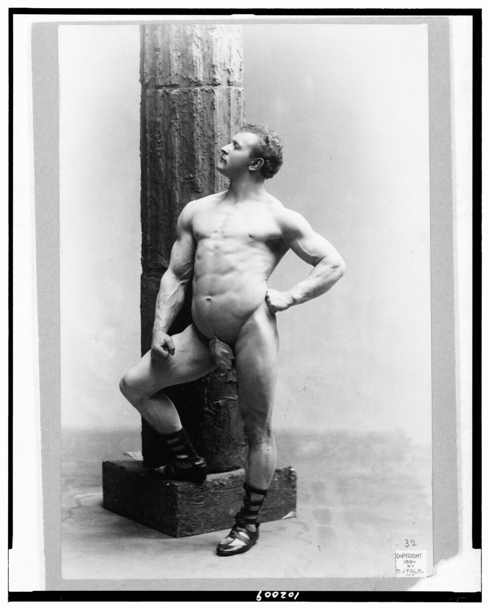 B.J. Falk, Eugen Sandow, full-length nude portrait, standing by column, facing left, 1894. Copyright by B.J. Falk, N.Y. Courtesy of The Library of Congress.