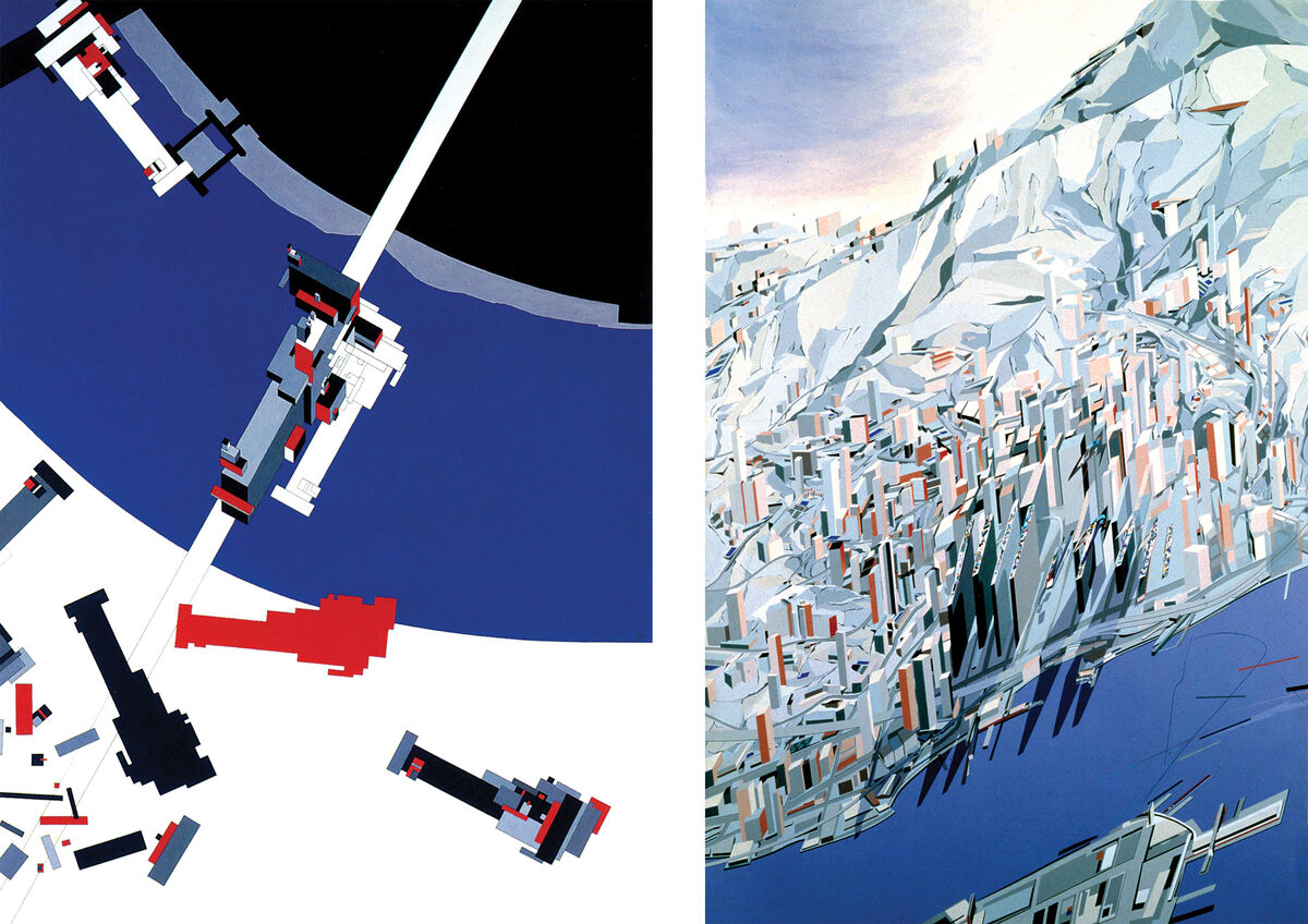 Left: Zaha Hadid, Malevich's Tektonik (1976-77); Right: Zaha Hadid, The Peak (1982-83). Images © Zaha Hadid Architects.