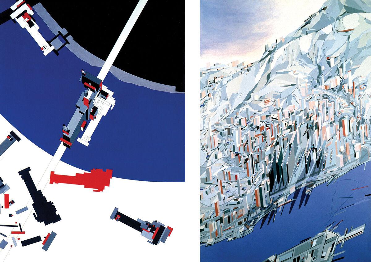 Left: Zaha Hadid, Malevich's Tektonik (1976-77); Right: Zaha Hadid, The Peak(1982-83). Images © Zaha Hadid Architects.
