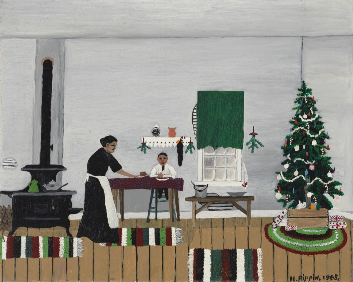 Horace Pippin,  Christmas Morning, Breakfast,  1945. Courtesy of the Cincinnati Art Museum.