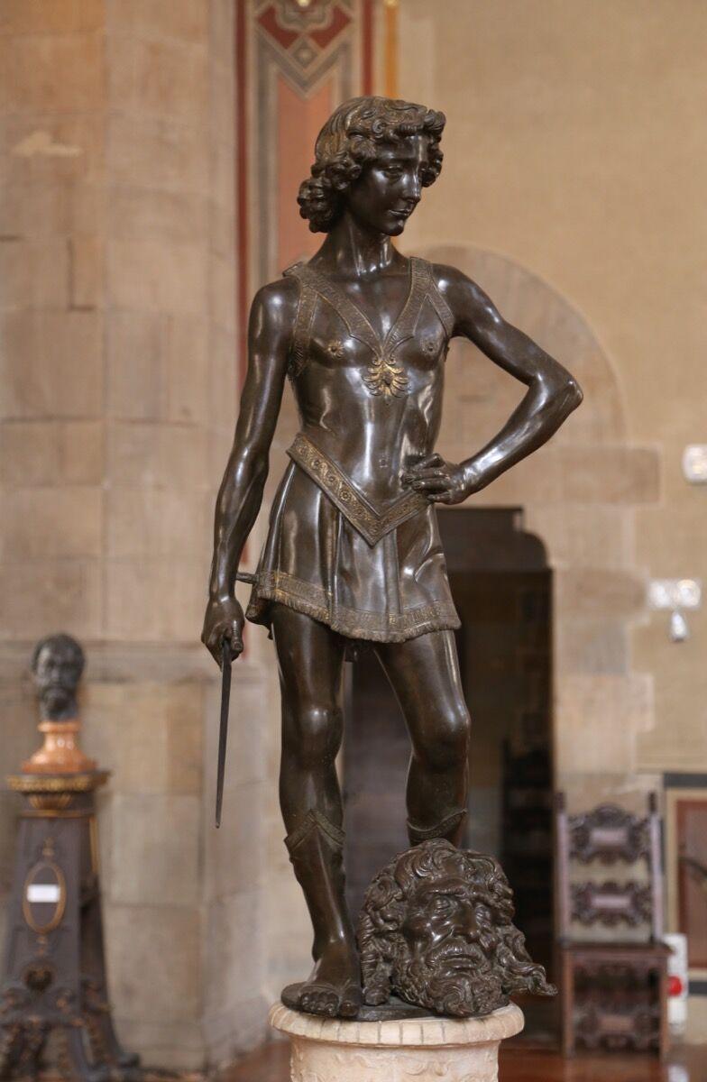 Andrea del Verrocchio, David, ca. 1466-69, Museo del Bargello, Florence. Image via Wikimedia Commons.