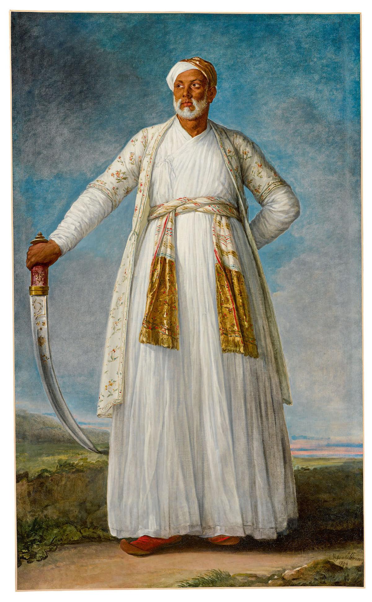 Élisabeth Louise Vigée-Le Brun, Portrait of Muhammad Dervish Khan, Full-Length, Holding His Sword in a Landscape, 1788, oil on canvas. Est. $4–6 million, sold for $7,185,900. Courtesy Sotheby's.