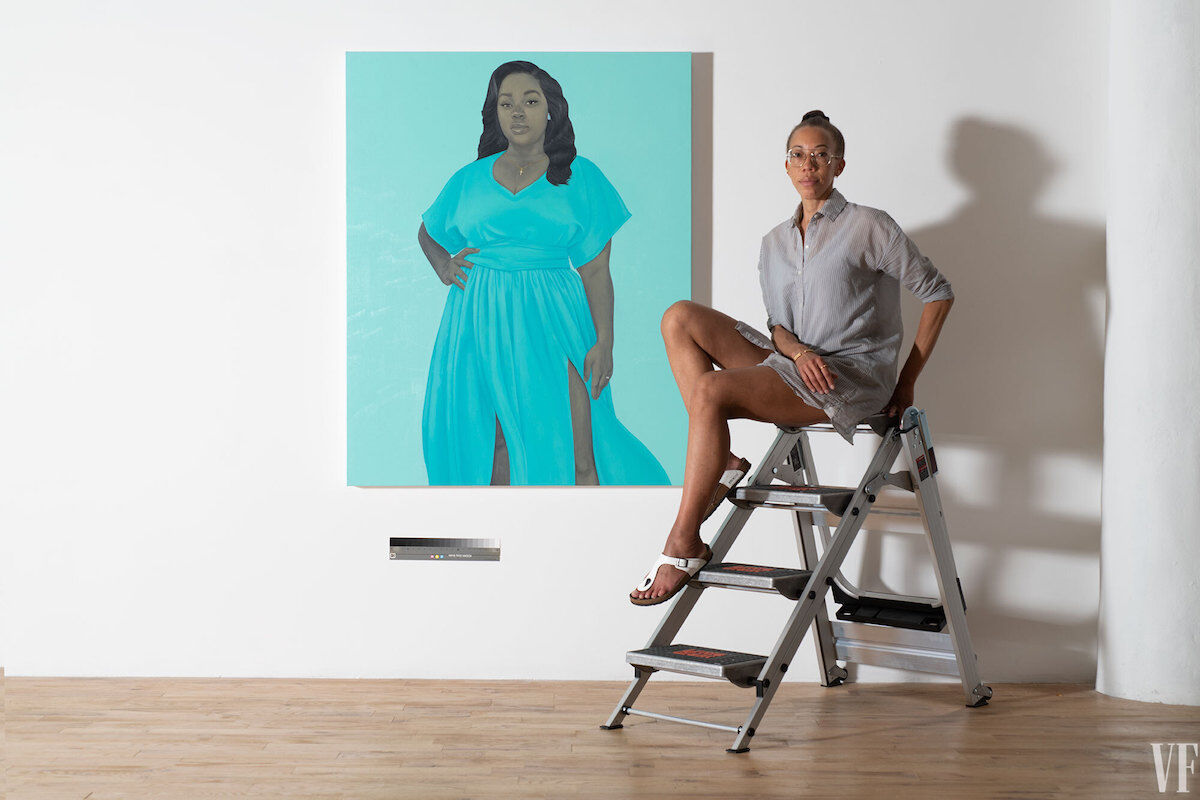 Amy Sherald with her portrait of Breonna Taylor. Photo by Joseph Hyde, courtesy Vanity Fair.