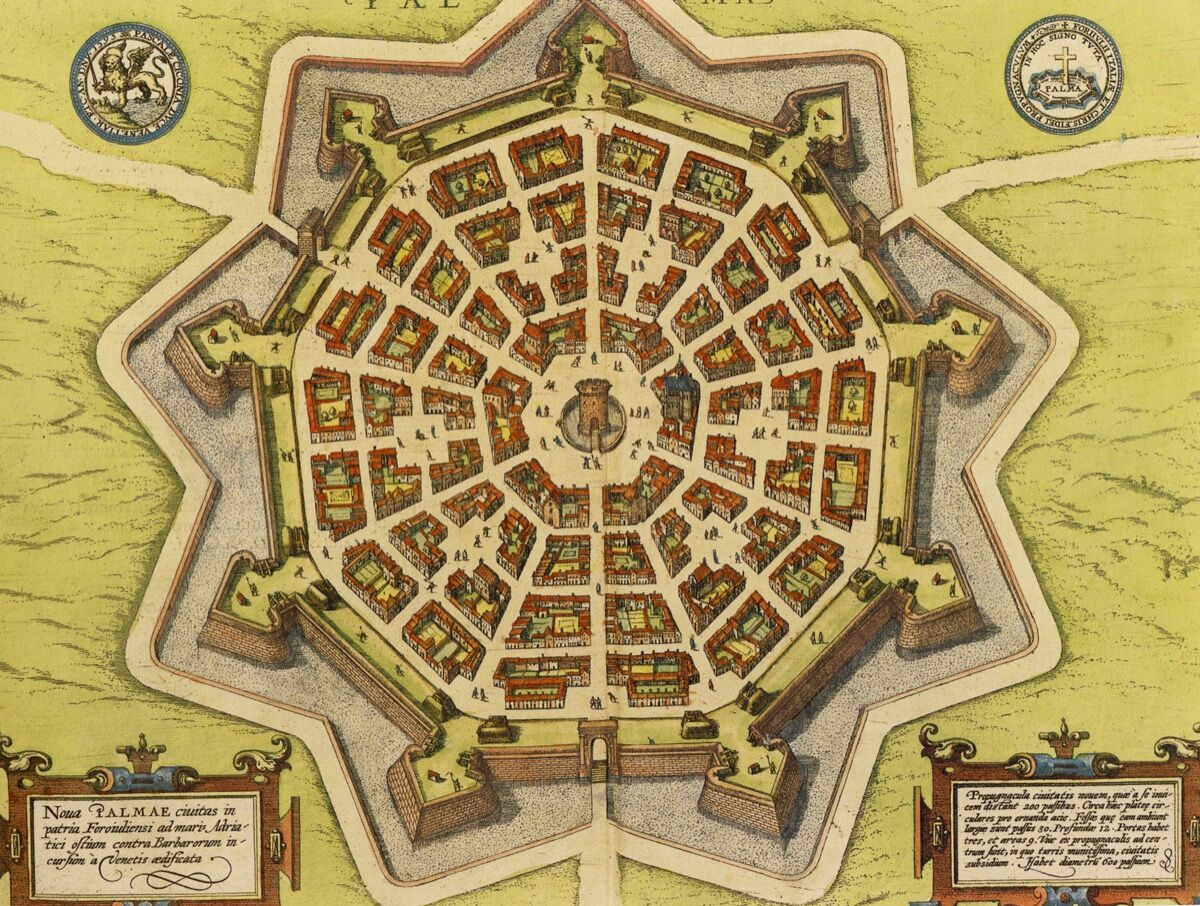 The Venetian model city of Palmanova from Georg Braun and Franz Hogenberg,1572-1680.