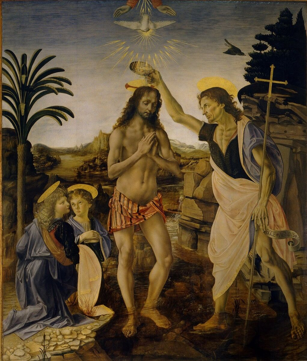 Andrea del Verrocchio, The Baptism of Christ, 1472–75. Uffizi Gallery,