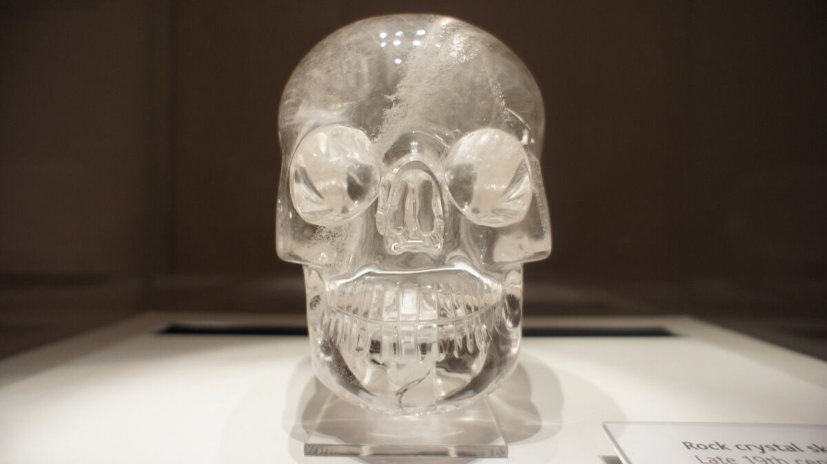 An Aztec crystal skull at the British Museum. Photo by James Mitchell, via Flickr.