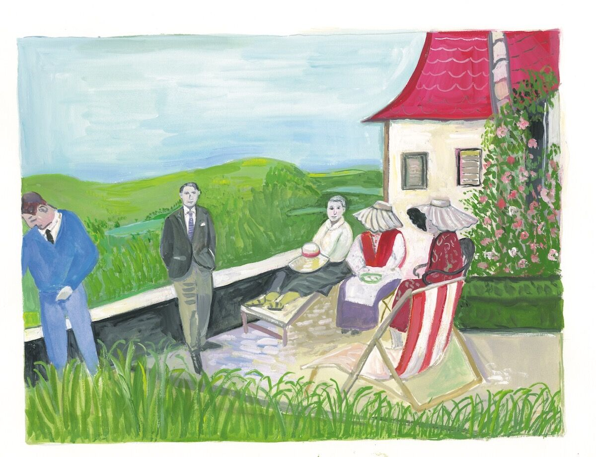 """Maira Kalman, Picasso, Gertrude, and friends on the Terrace, from """"The Autobiography of Alice B Toklas,"""" 2019. Courtesy of Julie Saul Projects, New York."""