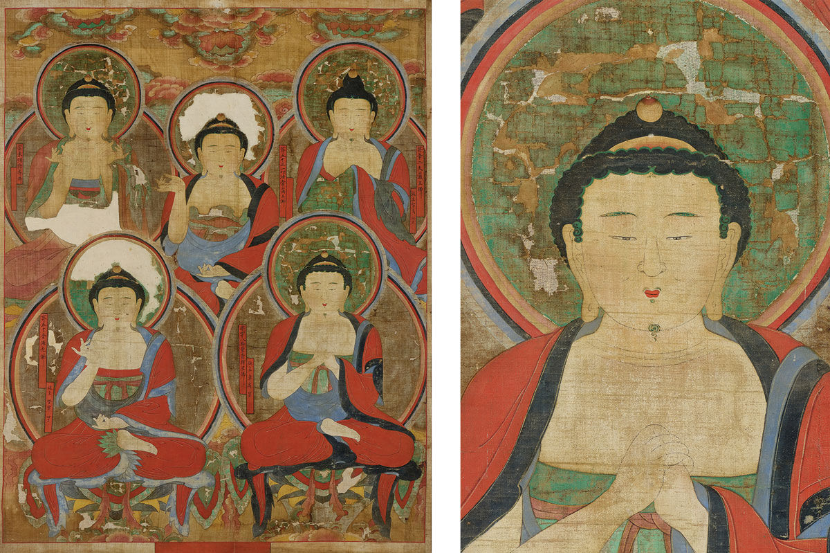 Left: Korea, unknown artist, Five Buddhas, 1725, conserved by Robert and Sandra Mattielli. Right: Detail of Five Buddhas.