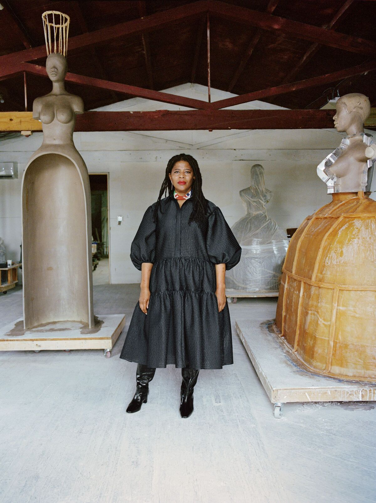 Simone Leigh photographed at Stratton Sculpture Studios, 2020. Photo by Shaniqwa Jarvis courtesy Hauser and Wirth.