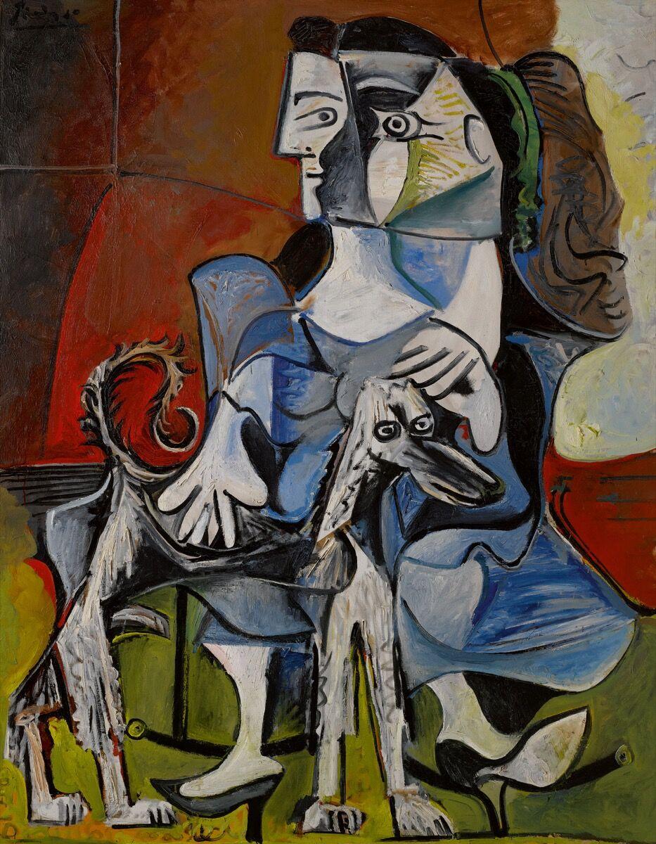 Pablo Picasso,  Femme Au Chien ,   1962. Courtesy of Sotheby's.