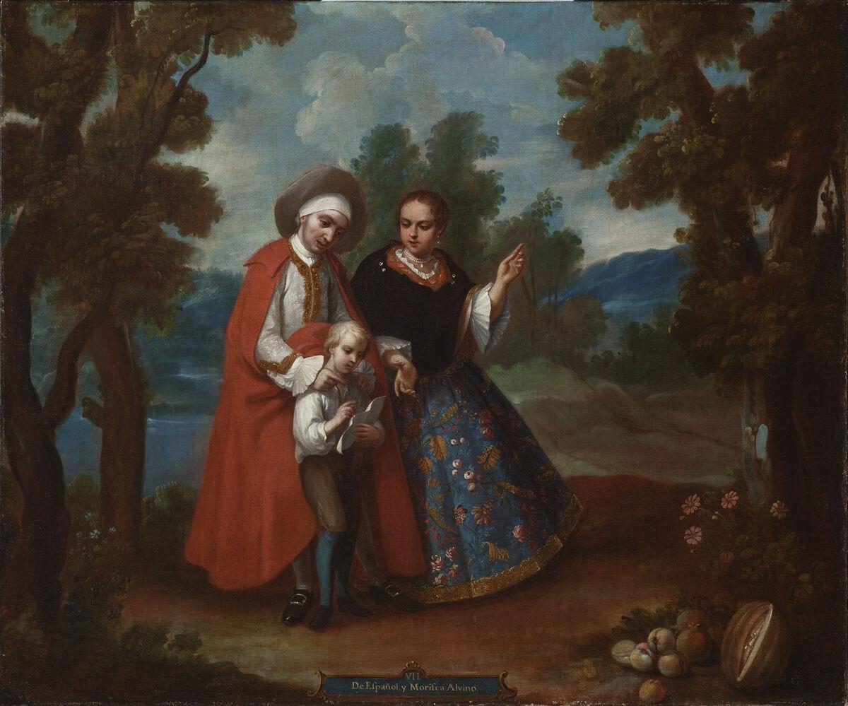 Juan Patricio Morlete Ruiz, VII. From Spaniard and Morisca, Albino (VII. De español y morisca, albino), c. 1760. Photo via the Los Angeles County Museum of Art.