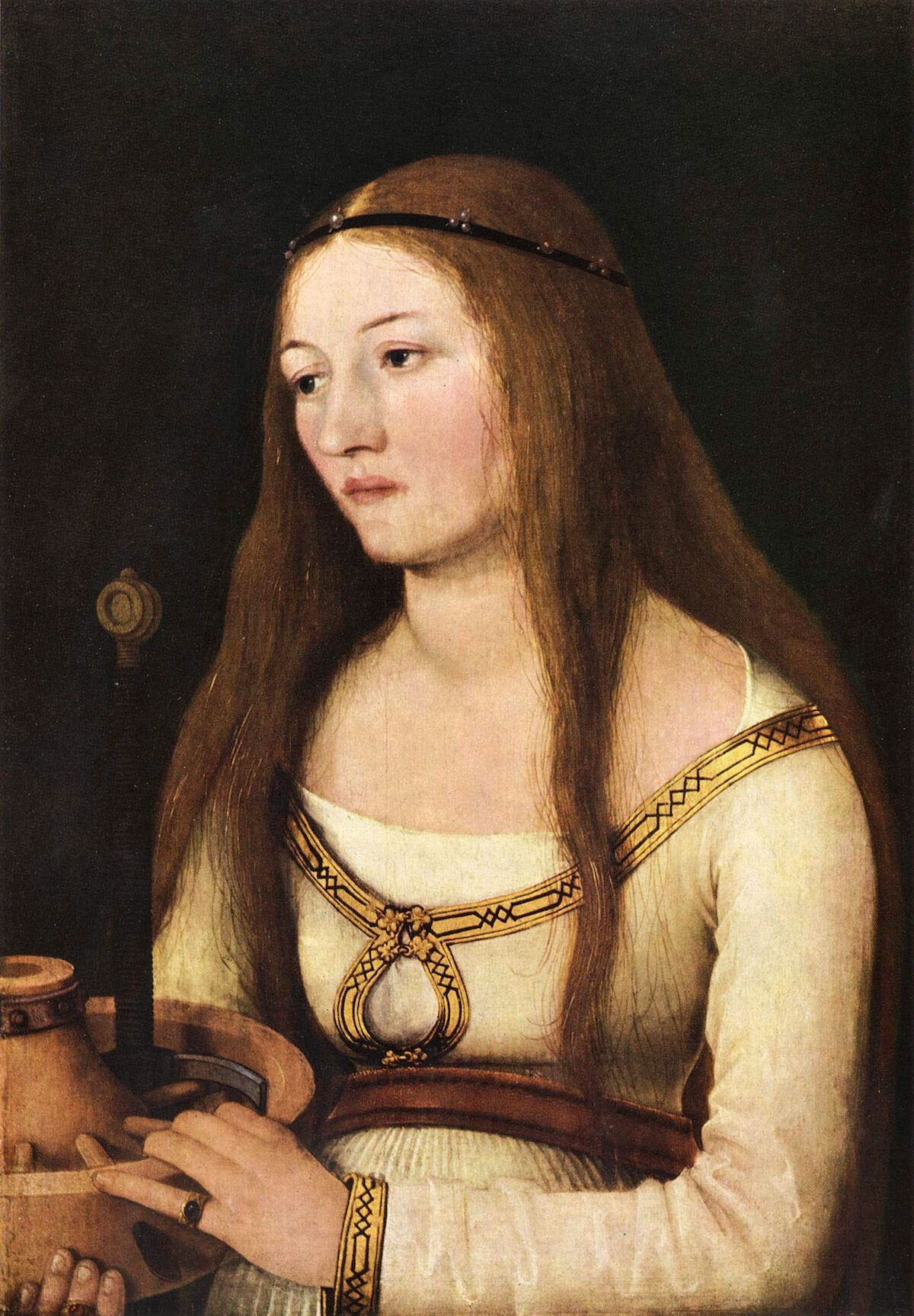 Hans Holbein the Elder portrait of Saint Catherine (1510). Via Wikimedia Commons.