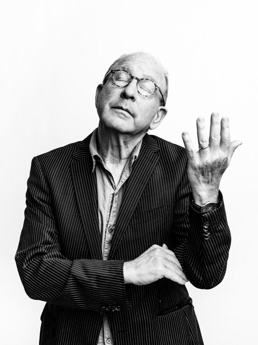 Portrait of Jerry Saltz by Celeste Sloman.