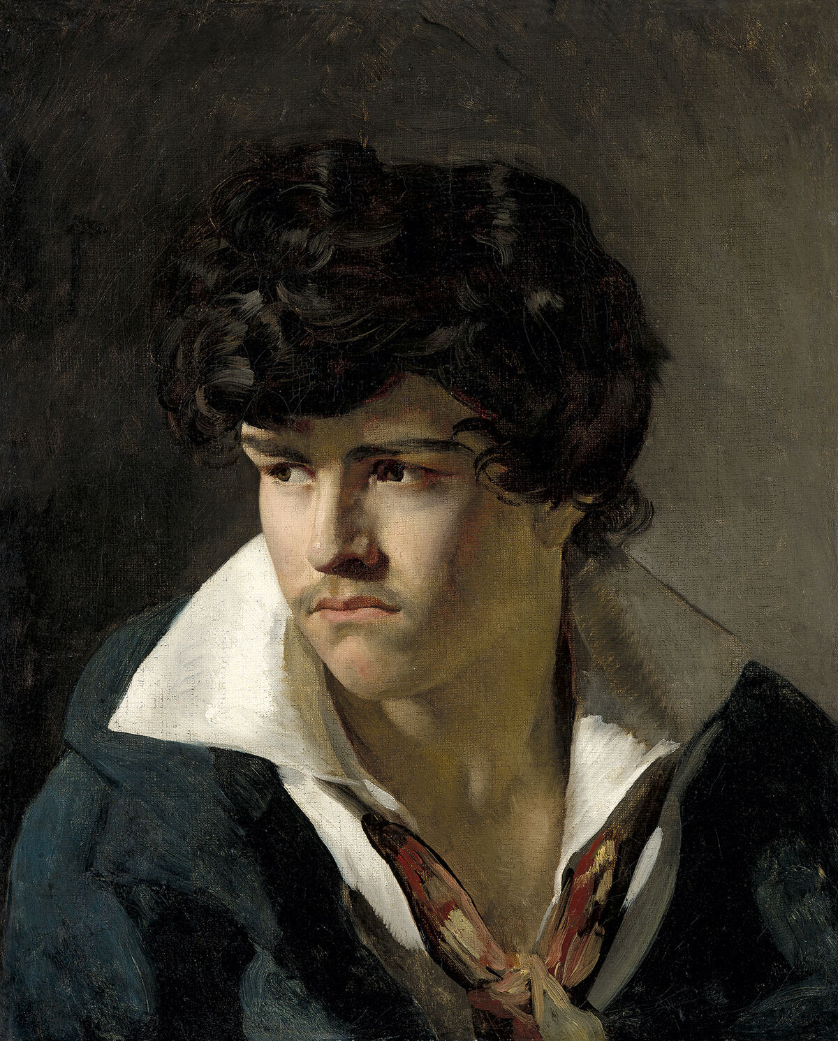 Théodore Géricault,Portrait of a young man with an open collar, c. 1817. Image courtesy ofJean-Luc Baroni Ltd.