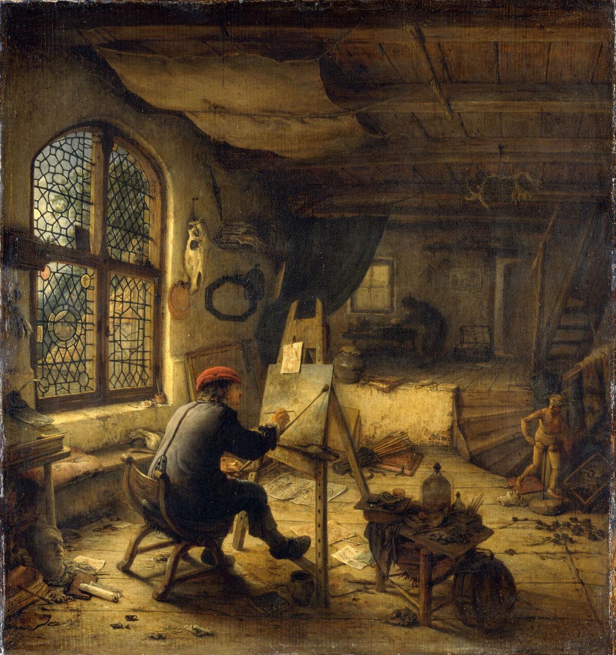 Adriaen van Ostade, Der Maier in seiner Werkstatt, 1683. Photo by Hans-Peter Klut. © bpk, Staatliche Kunstsammlungen Dresden.