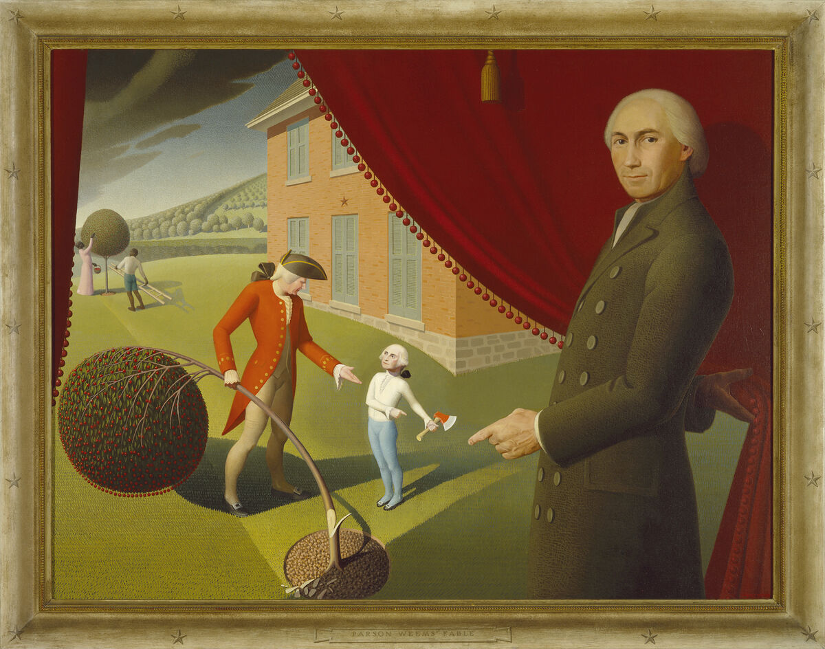 Grant Wood, Parson Weems' Fable, 1939. Amon Carter Museum of American Art, Fort Worth, Texas. © Figge Art Museum, successors to the Estate of Nan Wood Graham/Licensed by VAGA, New York, NY.