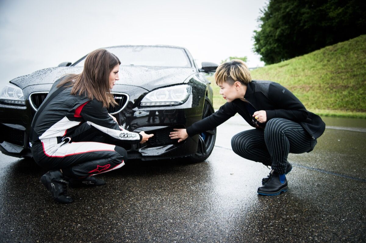 Cao Fei at a BMW racing experience in Switzerland. Photo courtesy of BMW.