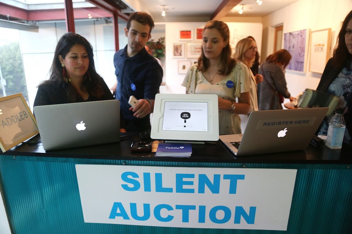 A UNICEF benefit auction run by Paddle8 in 2017. Photo by Lindsay Meggers/Getty Images.