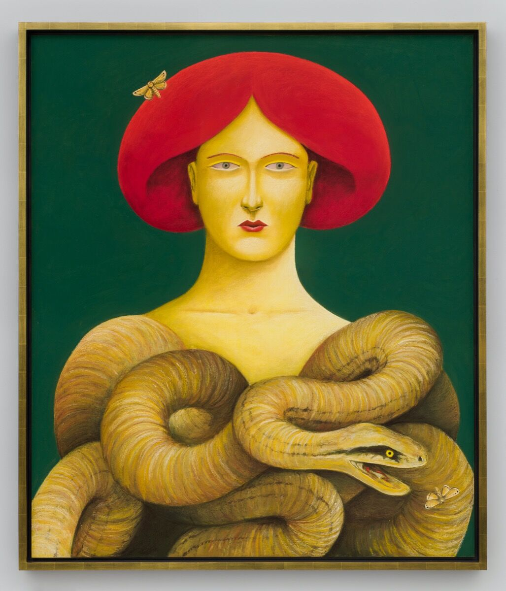 Nicolas Party, Portrait with Snakes, 2019. © Nicolas Party. Photo by Jeff McClane. Courtesy of the artist and Hauser & Wirth.